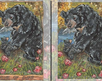 Black Bear Art, Any Print Size, Red Flower, Nature Decor, Nine of Cups Tarot Card, Animism Tarot Deck, Mom and Baby, Forest Animal Wall Art