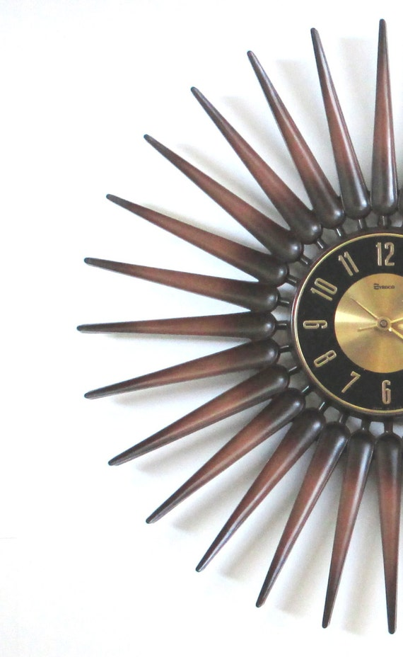 mid century modern starburst wall clock by thevintageresource. Black Bedroom Furniture Sets. Home Design Ideas