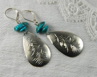 Turquoise Earrings Metalwork Earrings Large Statement Earrings Handmade Turquoise Jewelry Metalwork Jewelry