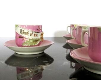 Antique Teacups Saucers Pink Lustreware Germany Demitasse