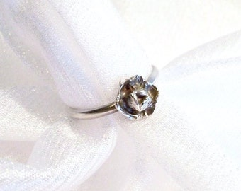 Vintage Sterling Silver Flower Ring: High Patina Rose Ring - Size 7 1/2 - A2012