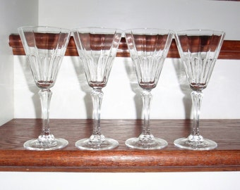"4 CRIS D'ARQUES Wine Champagne Vertical Panel Cut Flutes Glasses Stems Goblets Clear Crystal 7 1/8"" High Set Excellent Condition"
