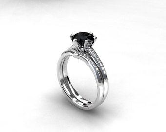 engagement ring set, black spinel engagement, Diamond band, wedding ring set, white gold, black gemstone, curved, solitaire, gothic, spinel
