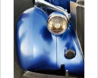Car Photography- 1930's Metallic Blue Hot Rod Photograph- 8x10 matted metallic print