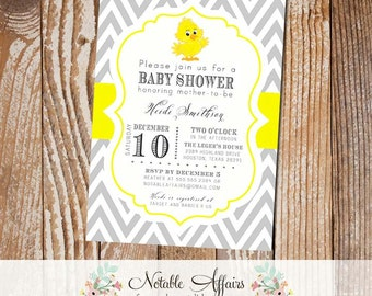 Gray and Yellow Baby Chick Chevron Baby Shower Birthday or Gender Reveal Invitation - colors can be changed
