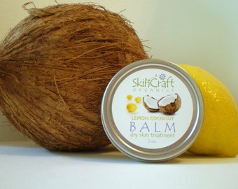 Natural Lemon Coconut Balm / Salve - Conditions & Moisturizes Dry Skin  - Organic Jojoba - Calendula - Coconut -  2 oz Tin with Screw on Lid