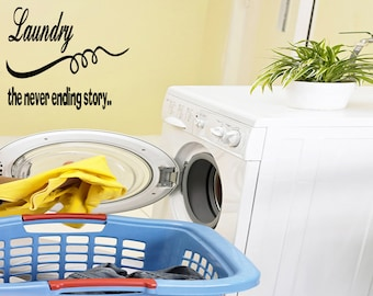 Wall Quotes Laundry The Never Ending Story inyl Wall Decal Quote Removable Laundry Room Wall Sticker Home Decor (C172)