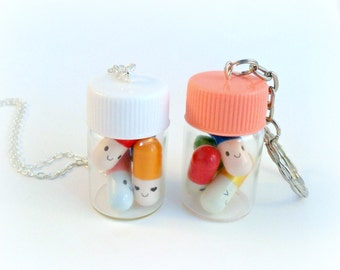 Happy Pills Bottle, Necklace or Keychain, Message In A Bottle, Message Pills, Screw Cap, Cute And Kawaii :D