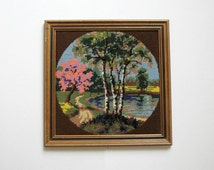 Cherry Blossoms - Vintage Needlepoint Art Framed Embroidery Art - Spring Wall Decor Landscape Art Woodland Scenery Pink Flowers Birch Trees