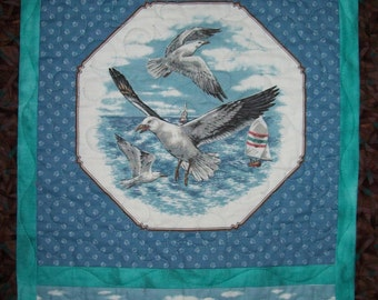 Nautical hanging - sea bird wall quilt -  seagull door hanging - lake beach cottage - sail boat - seaside ocean decor - hostess gift