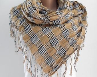 Camel Plaid Scarf Shawl Tartan Cowl Scarf Check Men Scarf Women Men Fashion Accessories Christmas Gift Ideas For Her For Him