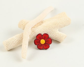 Polymer Clay ring red flower