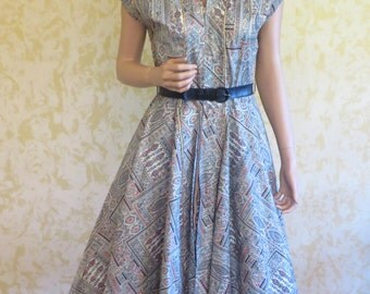 50's Cotton Novelty Print Swing Dress w/ Far Eastern Design