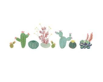 Cactus Row art print - Succulent, cacti, painting, gouache, watercolor, art print