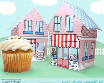 sweet shoppe - cupcake holder, favor box, party centerpiece printable PDF kit - INSTANT download