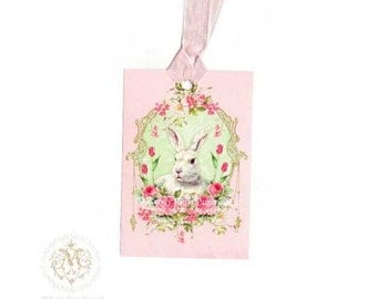 Bunny rabbit, gift tags, Easter bunny, pink roses, tulips, green, holidays, ornate vintage frame, spring, white rabbit