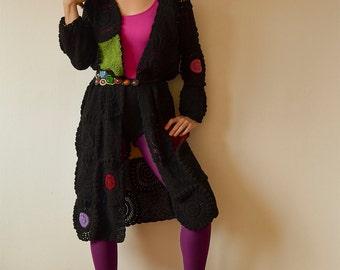 Black Long Women's Cardigan , Coat, Light Silky Yarn - MADE TO ORDER