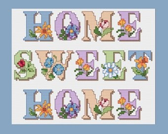 Home Sweet Home cross stitch pattern - PDF - Instant Download