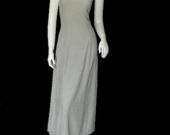 Vintage RAMPAGE Rayon Pinstripe Maxi Dress 90s S/M