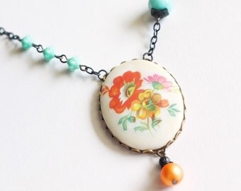 Floral Cameo Necklace Large Vintage Poppy Flower Pendant Orange Aqua Statement Jewelry Romantic Valentine's Day Gift For Her