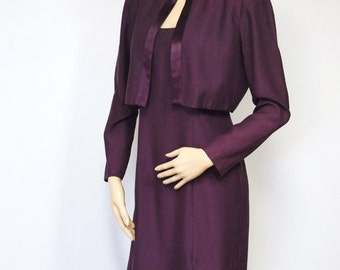 Vintage Suit Dress 1980's Dress Two Piece Plum John Roberts Sleeveless Dress and Jacket Size 4 Petite