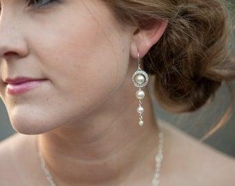 Pearl Dangle Earrings, Pearl Wedding Jewelry, Ivory or White Pearl Drop Earrings, Long Pearl Earrings, Bridal Earrings