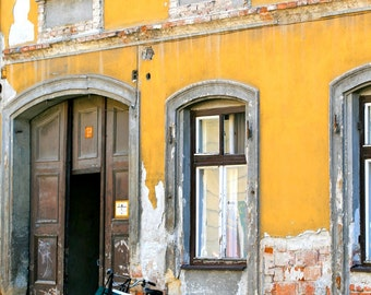 Rustic European Decor - Hungary Photograph - Turquoise Bicycle Print - Yellow Wall Art Hungarian Windows Doors Photography Geraniums