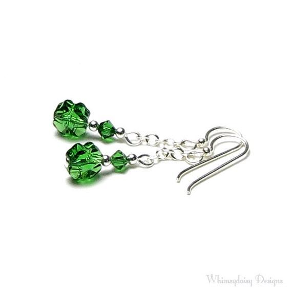 St Patrick's Day Earrings, Green Shamrock Swarovski Crystal Sterling Silver Dangle Earrings, Four Leaf Clover Earrings, Spring Green Jewelry