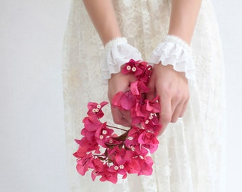 SALE-  wedding cuffs lace gloves ivory bridal bracelet