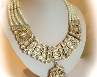 Vintage Crystal and Pearl Collar Estate Necklace Princess Necklace White Pearl Collar Statement Necklace
