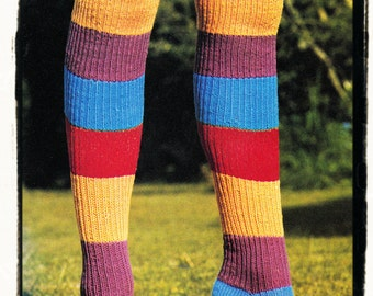 Instant Download PDF  KNITTING PATTERN to make Long Over Knee Ribbed Striped Womens Boot Socks Boho Hippy Stockings All Foot Sizes