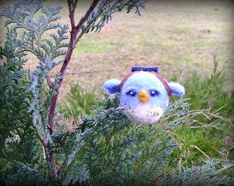 Felted Bird.  Needle felted Blue Bird Traveler.