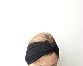 Black twist headband Jersey turban twisted center headband turband stretch head wrap head cover headwrap