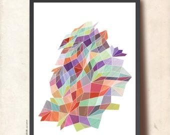 Poster GEOMETRIC Print, A3 Abstract Wall Art. Precious Stone Surface. Geometric Art Print, by TANGRAMartworks, purple, teal, blue