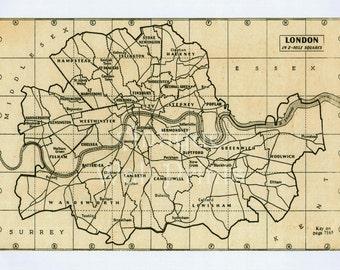 London Map Antique Map 10 x 8 Poster Print