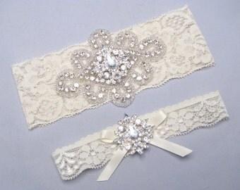 Crystal Rhinestone Bridal Garter Set, Keepsake and Toss Garters, White / Ivory Lace Wedding Garter, Silver Heirloom Garters, Custom Garter