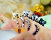 Womens Kitty Cat Ring Swarovski Crystals Adjustable Free Size Wrap Ring Kitten Gold Silver Chrome Silver Black gift idea