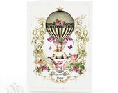 Marie Antoinette card, high tea, French, vintage teacup, hot air balloon, birthday card, pink roses, cake, gold crown,butterflies