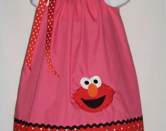 Elmo Pillowcase Dress / Pink + Red Dots / 123 Sesame Street / Big Bird / Polka Dots / Girl / Infant / Baby / Kid / Custom Boutique Clothing