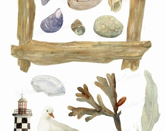 The beach - Watercolor CLIP ART - Digital illustrations to download - for scrapbooking, card making, collage, digital creation