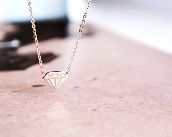 Diamond Necklace, Rose Gold Necklace, Silver Necklace, Dainty Necklace, Diamond Chocker, Gift For Her, Layered Necklace, Christmas Jewellery