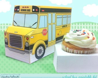 school bus -  cupcake box, cookie, teacher appreciation gift box, party favor centerpiece printable PDF kit - INSTANT download