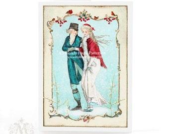Christmas Card, Jane Austen, romantic regency couple ice skating, winter snow scene, traditional holiday card