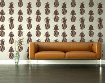 Pineapple Wall Decal, Retro Wall Decal, Pineapple Wall Decor, Tropical Fruit Wall Decal, Mid Century Mod Decor, Hawaiian Wall Decor, Fruit
