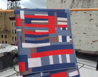 Union County throw quilt | handmade hand-sewn improv modern quilt