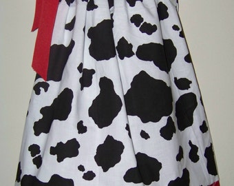 Cowgirl / Cow & Red Bandana Pillowcase Dress / Western / Rodeo / Newborn / Infant / Baby / Girl / Toddler / Custom Boutique Clothes