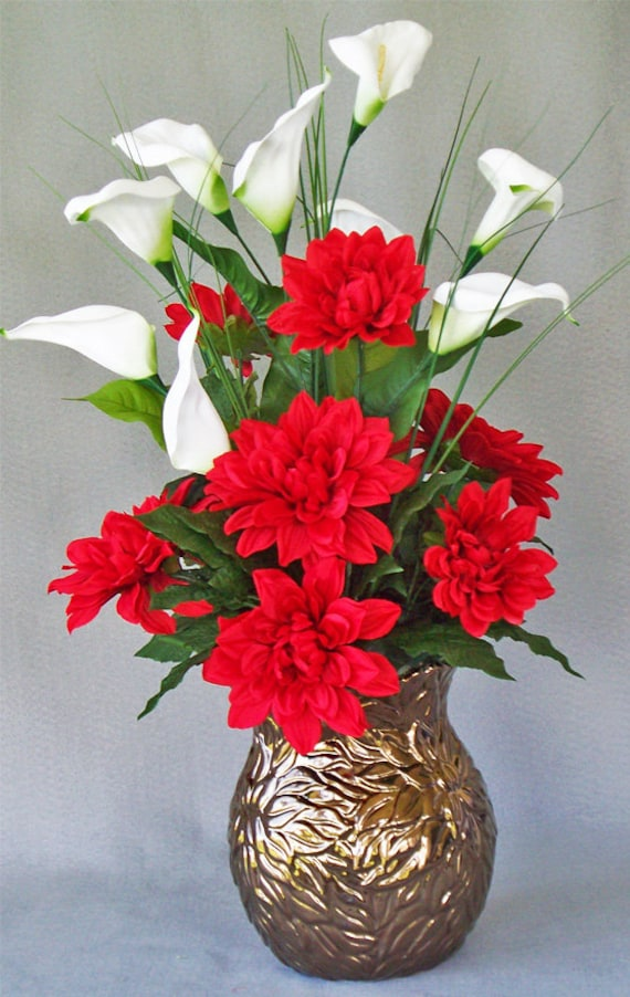 Lily Vase Wedding Flowers : Red dahlia white calla lily gold vase silk by artsandcreations