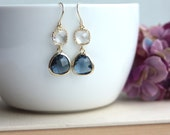 Navy Blue, Sapphire Blue Gold Plated Blue Glass Drop Dangle Earring. Something Blue, Bridesmaid Gift. Bridal Jewelry. Blue and Gold Wedding