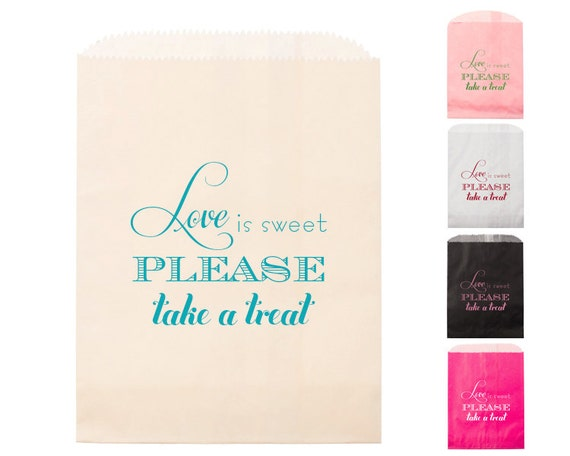 Love Is Sweet Goodie Bags Foil Stamped Candy Bar Bag Party