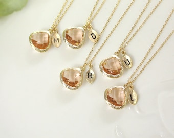 Bridesmaid gifts - Set of  8, 9, 10 -Leaf initial,Champagne pendant necklace, wedding, bridesmaid necklace, Peach necklace, Initia,B0060-G,